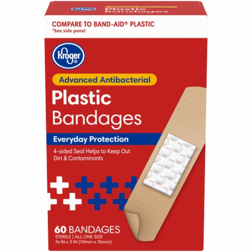 Kroger® Antibacterial Plastic Bandages 3/4 in x 3 in One Size Perspective: front