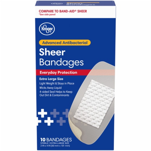 Kroger® Extra Large One Size Antibacterial Sheer Bandages 10 Count Perspective: front