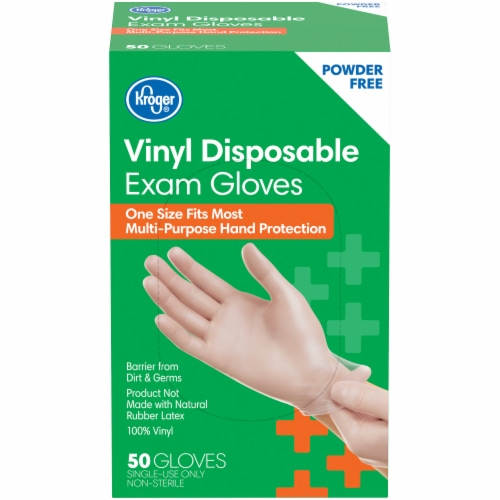 Kroger® Powder-Free Vinyl Disposable Exam Gloves Perspective: front