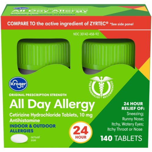 Kroger® All Day Allergy 24-Hour Relief Antihistamine Tablets 2-70 ct Bottles- 10 mg Pack Perspective: front