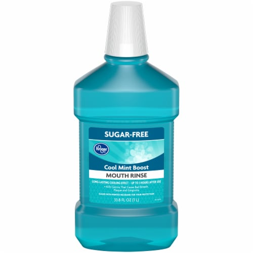 Kroger® Sugar-Free Cool Mint Boost Mouth Rinse Perspective: front
