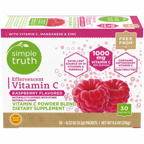 Simple Truth™ Raspberry Flavored Effervescent Vitamin C Powder Blend Packets Perspective: front
