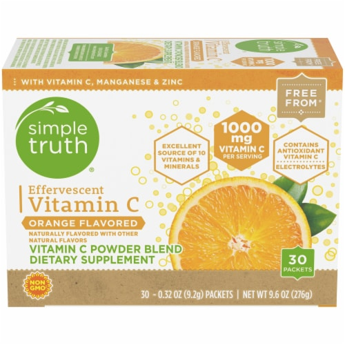 Simple Truth™ Effervescent Vitamin C Orange Flavored Powder Blend Packets Perspective: front