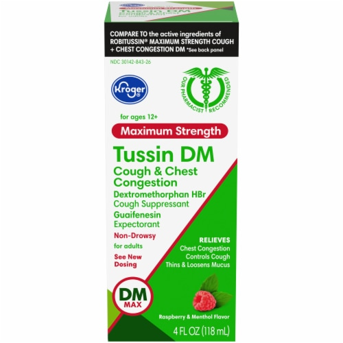 Kroger® Tussin DM Raspberry & Menthol Flavor Liquid Cough Suppressant & Expectorant Perspective: front