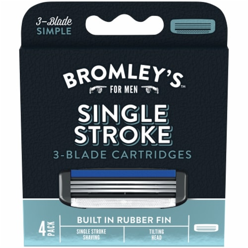 Bromley's™ for Men Single Stroke 3-Blade Cartridges Perspective: front