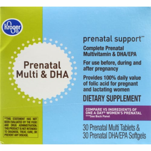 Kroger® Prenatal Multi & DHA Vitamin Tablets & Softgels Perspective: front