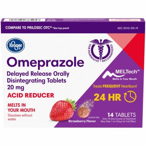Kroger® Strawberry Flavor Omeprazole Acid Reducer Tablets Perspective: front