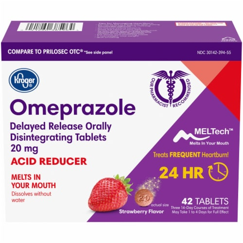 Kroger® Omeprazole Strawberry Flavor Acid Reducer Tablets 20mg Perspective: front