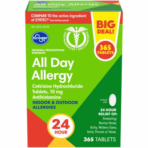 Kroger® All Day Indoor & Outdoor Allergy Tablets Perspective: front