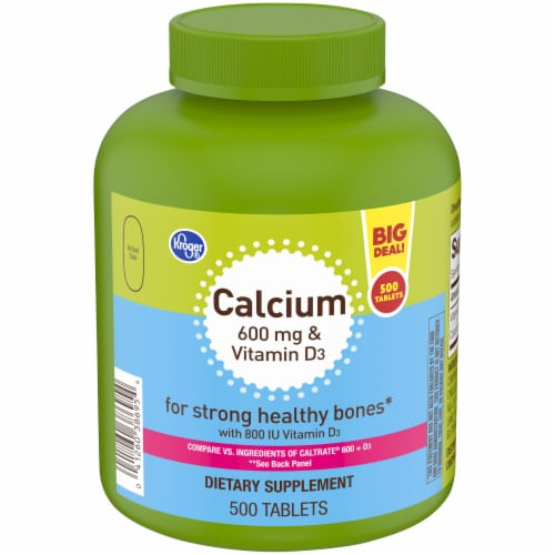 Kroger® Calcium 600 mg & Vitamin D3 Tablets Bottle Perspective: front