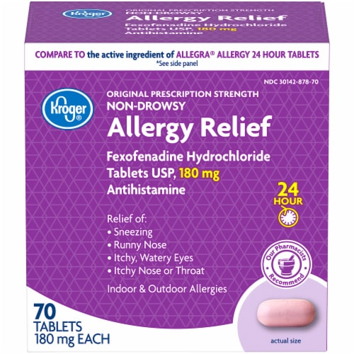 Kroger®  24 Hour Non-Drowsy Allergy Relief 180 mg Tablets Perspective: front
