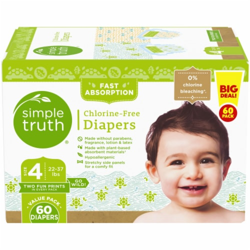 Simple Truth® Chlorine Free  Size 4 Baby Diapers Perspective: front