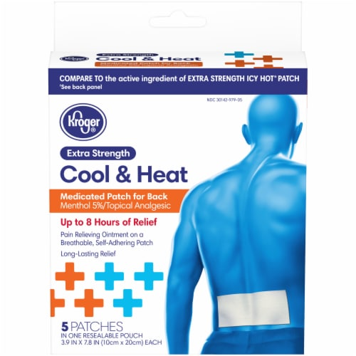 Kroger® Extra Strength Cool & Heat Medicated Patch for Back Box Perspective: front