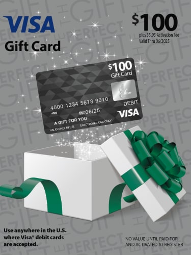 Visa $100 Gift Card ($5.95 activation fee) Perspective: front