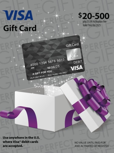 Visa $20-$500 Gift Card ($5.95 activation fee) Perspective: front