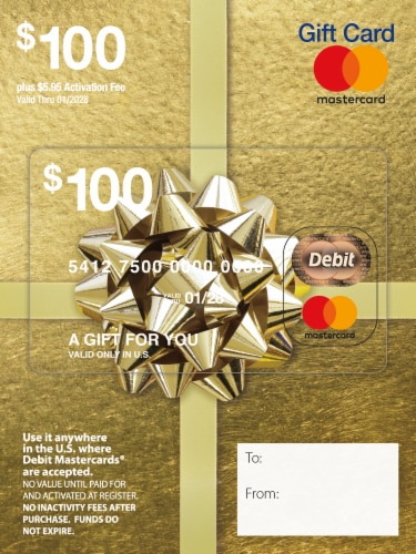 Mastercard $100 Gift Card ($5.95 activation fee) Perspective: front