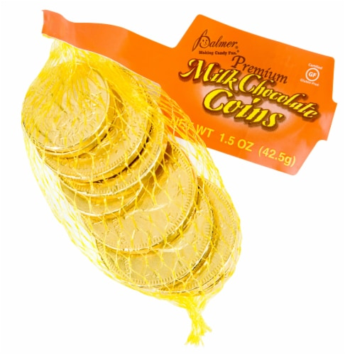 Palmer Mesh Milk Chocolate Gold Coins Perspective: front