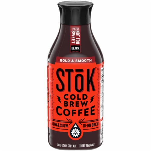 Stok Not Too Sweet Black Cold Brew Coffee Perspective: front