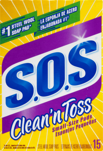 S.O.S® Clean 'n Toss Small-Size Steel Wool Soap Pads Perspective: front