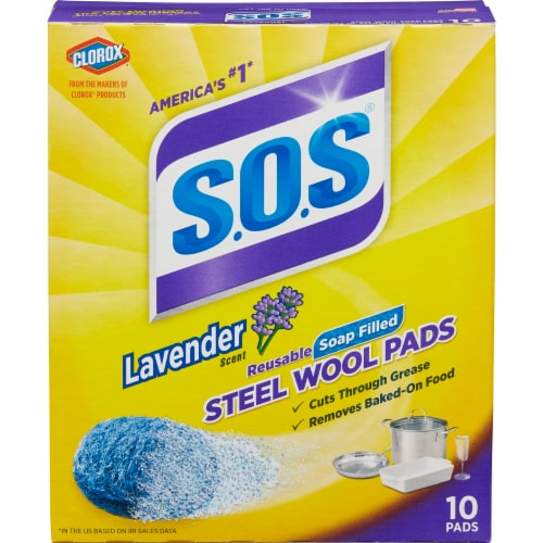 S.O.S. Lavender Steel Wool Soap Pads Perspective: front