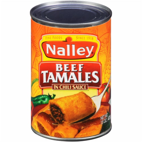 Nalley Beef Tamales in Chili Sauce Perspective: front