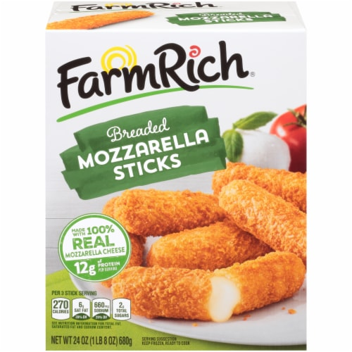 Farm Rich Breaded Mozzarella Cheese Sticks Perspective: front