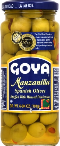 Goya Manzanilla Spanish Olives Stuffed with Minced Pimientos Perspective: front