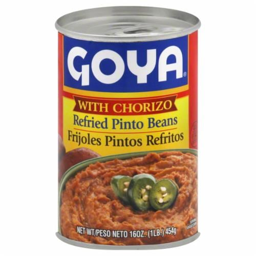 Goya Refried Pinto Beans with Chorizo Perspective: front