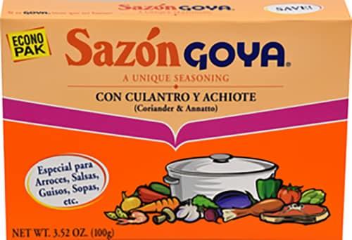 Goya Sazon Coriander & Annatto Seasoning Perspective: front