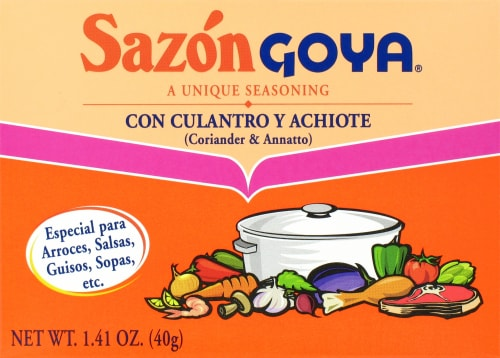 Sazon Goya Coriander and Annatto Seasoning Perspective: front