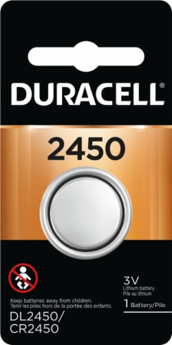 Duracell 2450 Lithium Coin Button Battery Perspective: front
