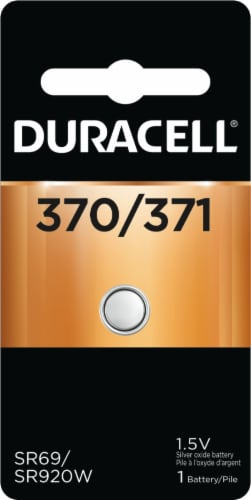 Duracell 370/371 Silver Oxide Coin Battery Perspective: front