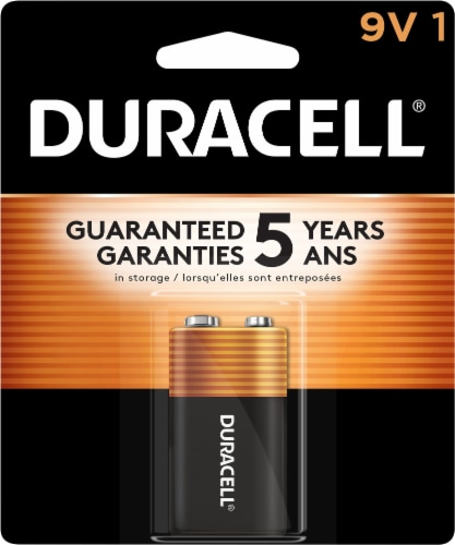 Duracell 9V Alkaline Battery Perspective: front