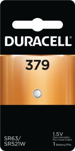 Duracell 379 Silver Oxide Coin Button Lithium Battery Perspective: front
