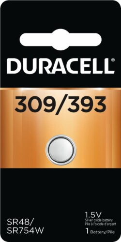 Duracell 309/393 Silver Oxide Specialty Battery Perspective: front