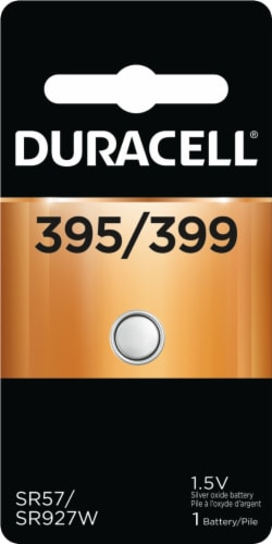 Duracell 395/399 Silver Oxide Button Battery Perspective: front