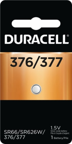 Duracell 376/377 Silver Oxide Button Battery Perspective: front