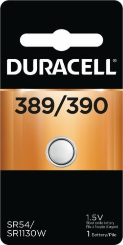 Duracell 389/390 Silver Oxide Button Battery Perspective: front