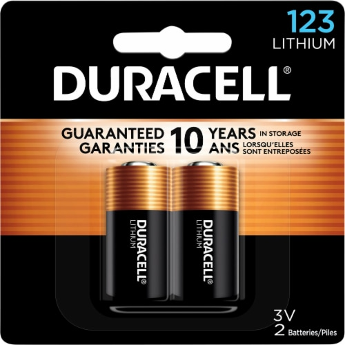 Duracell 123 Lithium Batteries Perspective: front