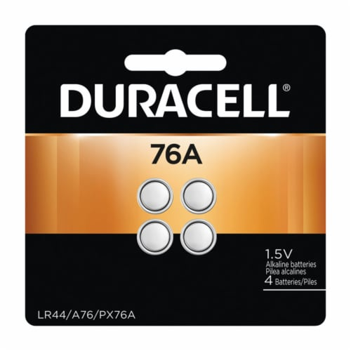 Duracell Alkaline 76A LR44 1.5 volt Medical Battery 4 pk - Case Of: 6; Each Pack Qty: 4; Perspective: front