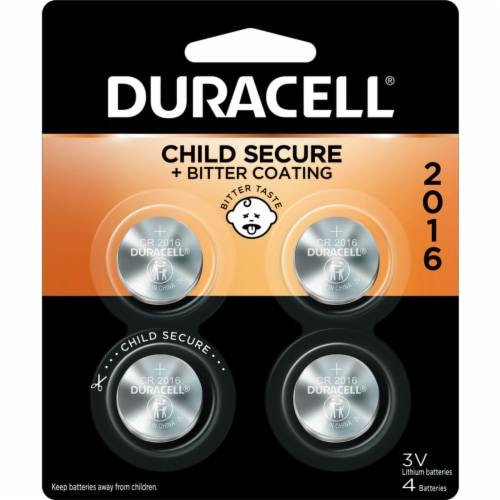 Duracell Lithium DL2016/CR2016 3 V Keyless Entry Battery 4 pk - Case Of: 6; Each Pack Qty: 4; Perspective: front