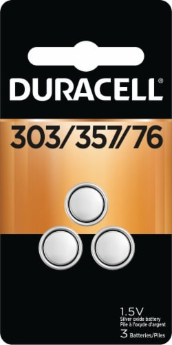 Duracell 303/357/76 Silver Oxide Button Batteries Perspective: front