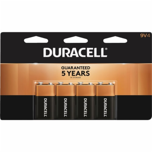 Duracell CopperTop 9V Alkaline Battery (4-Pack) MN16B4DW Perspective: front