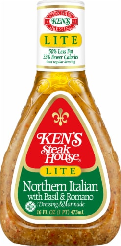 Ken's Steak House Lite Northern Italian Dressing & Marinade With Basil & Romano Perspective: front