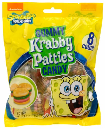 Frankford SpongeBob Krabby Patties Gummy Candy Bag Perspective: front