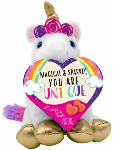 Frankford Unicorn Plush with Gummy Candy Heart Box Perspective: front