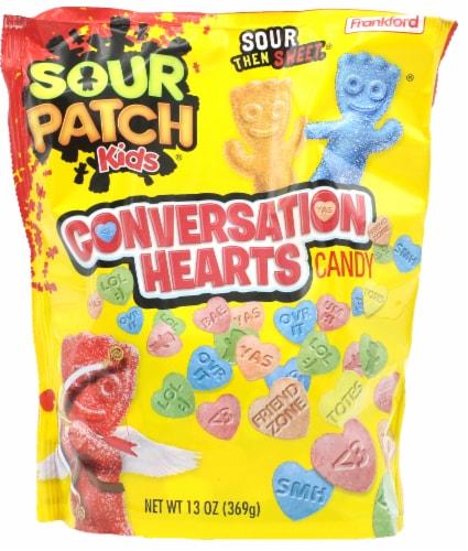 Sour Patch Conversation Hearts Perspective: front