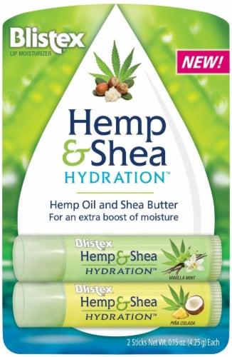 Blistex Hemp & Shea Hydration Vanilla Mint and Pina Colada Lip Moisturizer Sticks Perspective: front
