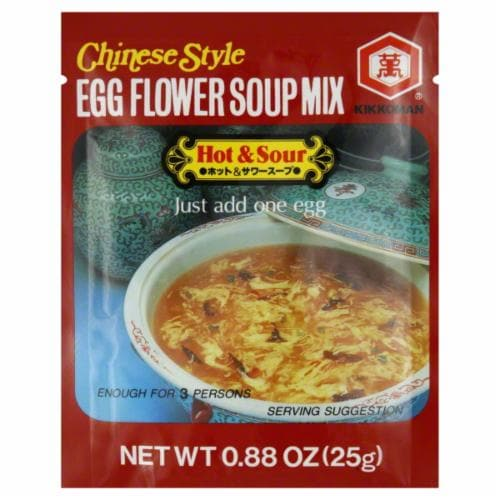 Kikkoman Chinese Style Egg Flower Soup Mix Hot & Sour Perspective: front
