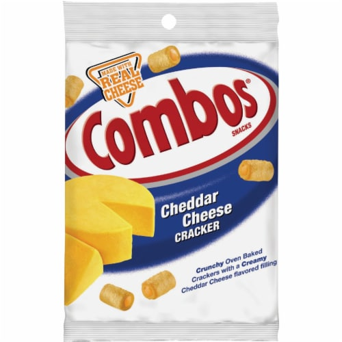 Combos Cheddar Cheese Cracker Baked Snacks Perspective: front